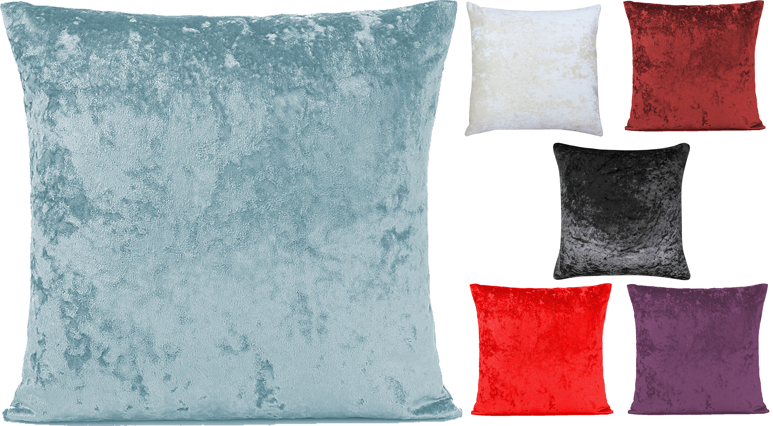 Crushed Velvet Cushion Cover Plain Luxury Soft Covers 45x45cm Ebay